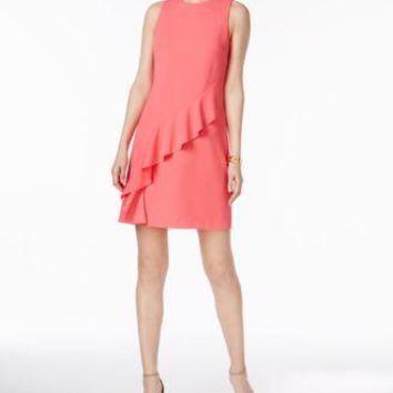 $138 New Ivanka Trump Women's Sleeveless Pink Ruffle Stretch Tunic Dress Size 16