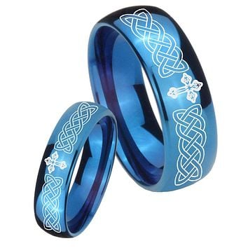 Bride and Groom Celtic Cross Dome Blue Tungsten Carbide Custom Ring for Men Set