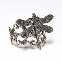 Steampunk silver DRAGONFLY RING victorian by chinookhugs on Etsy