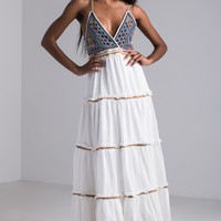 AKIRA V Neck Embroidered Top Embellished Maxi Dress in Ivory Multi