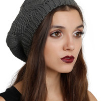Grey Cable Knit Beret