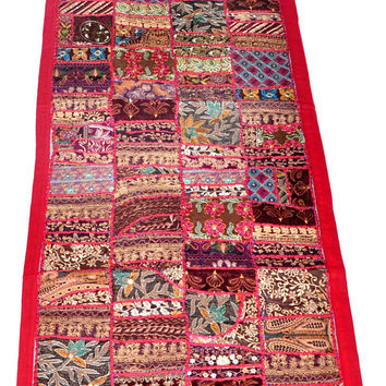 "60x20"" Handwork Patchwork Tapestry, Wall Tapestry, Indian Tapestry, Wall Hanging, Indian Runner, Ethnic Wall Art Vintage Tapestry wall decor"