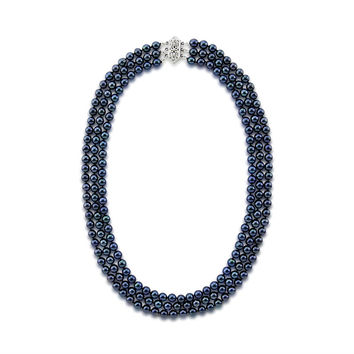 """14k White Gold Triple Strand Black Saltwater Akoya Cultured Pearl Necklace AAA Quality (5.5-6.0 mm), 17"""""""