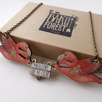 Swallows Are So Cliché! Tattoo Inspired Rockabilly Flamingo Necklace