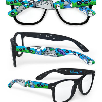 Totoro inspired hand painted glasses - Unique custom clear lens frames sunglasses - My Neighbor Totoro - Susuwatari - Soot Sprite
