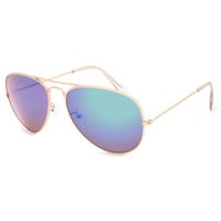 Blue Crown Mile High Aviator Sunglasses Gold/Blue One Size For Men 23322420001