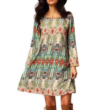 2016 Casual Women Crew Neck Aztec Print V Back Shift Long Sleeve Loose Tunic Dress