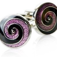 Unique Purple & Black Swirl Enamel Cufflinks by Cuff-Daddy