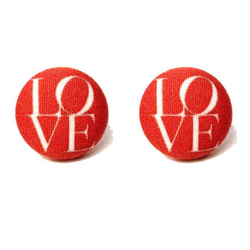 """Handmade """"All You Need Is Love"""" Red LOVE valentines Inspired Love Print Fabric Button Earrings 3/4"""""""