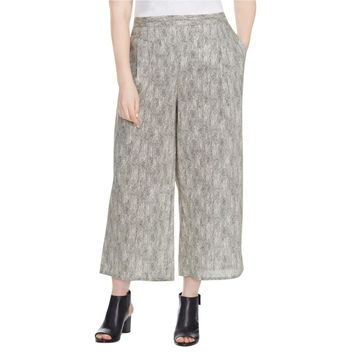 Eileen Fisher Womens Plus Wide Leg Cropped Casual Pants