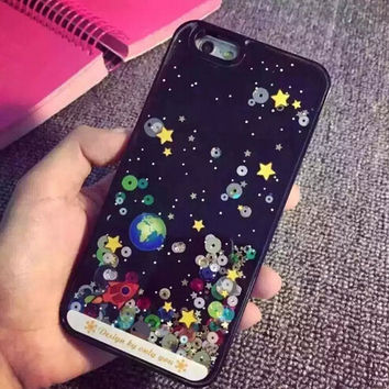 New Starry Sky Spaceship Glitter Star Flowing Water Liquid Case For iPhone 6 6S plus