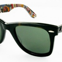 Ray Ban RB2140 Wayfarer Sunglasses-1122 Havana Text Guitar (Green Lens)-50mm
