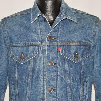 80s Levi's Blanket-Lined Denim Trucker Jacket Small