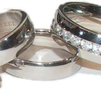 His & Hers Cz Wedding Ring Set 3 Piece Stainless Steel Wedding Rings
