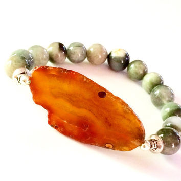 Orange Agate and Gray Tiger Eye Bohemian Bracelet-Stretch-Boho-Gemstone