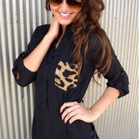 Leopard Pocket Roll up Sleeve Chiffon Shirt