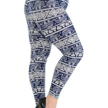 Plus Size Boho Elephant Print Leggings