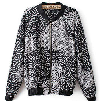 Black Geometric Pattern Cuff Sleeve Jacket