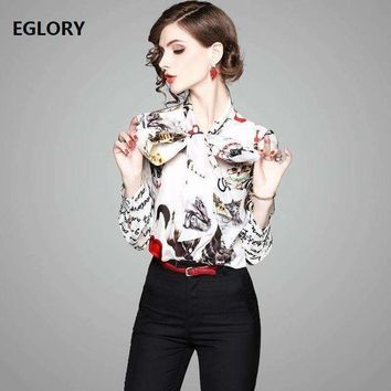 ICIKON3 letter print shirts casual blouse women bow tie cute cat prints long sleeve 100% silk shirt blouses