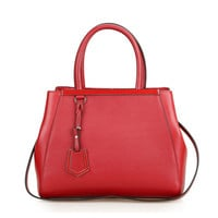 Leather Handheld Tote Bag With Detachable & Adjustable Strap-Red from KissBags