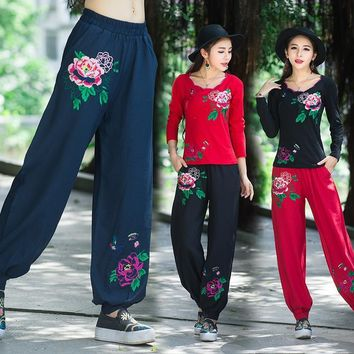 Knickerbockers Bloomers 2017 women autumn bohemian vintage ethnic long red blue black floral embroidery wide leg pant trousers