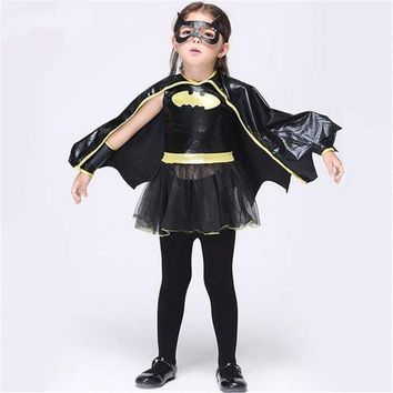 ONETOW Free shipping Christmas Fancy Masquerade Party Batman Bat Girl Costume Children Cosplay Dance Dress Costumes for Kids Halloween