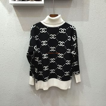 """Chanel"" Women All-match Casual Fashion Multicolor Letter Long Sleeve Turtleneck Pullover Knit Sweater Tops"