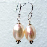 Pearl Earrings White Freshwater Pearl Sterling by pearlatplay