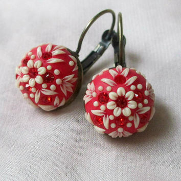 Vintage Love red Earrings for Her by Lena Handmade Jewelry Christmas gift  Snow Winter Embroidery Applique
