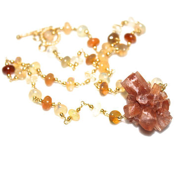 Aragonite Necklace Crystal Necklace Starburst Necklace Aragonite Jewelry Ethiopian Opal Necklace Opal Jewelry Crystal Jewlery Raw Crystal