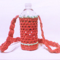 Crochet bottle cozy, baby bottle carrier, water bottle sleeve, Red bottle cover, Drink holder, Summer crochet mom gift, crochet gift for her