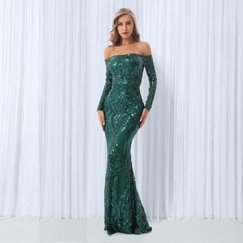 Green Sequined Maxi Dresses Off The Shoulder Slash Neck Party Dresses Elegant Maxi Dress Sequined Dress