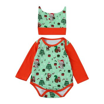 Baby Rompers Soft Cute Cartoon Baby Boys Christmas Clothing Long Sleeve Kids Baby Jumpsuit and Hat sets christmas gift