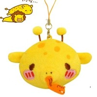 Kamio Slug Animal 2.7'' Plushy Slug Giraffe Face with Accessory Strap