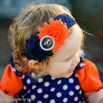 Denver Bronco's Headband, Girls Denver Bronco's Shabby Chic Headband, Football Headband