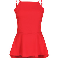 Red Backless Strap Peplum Top
