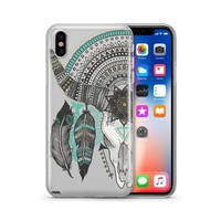 Feathered Mandala Animal Skull - Clear TPU Case Cover
