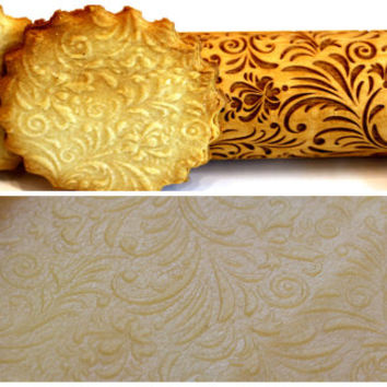 Lazer Engraved, Embossing Rolling Pin, Embossed Dough Roller, FLOWERS FLORAL Pattern, Christmas Gift, Personalized Rolling Pin,