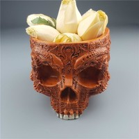 Skull Skulls Halloween Fall MRZOOT Resin Craft Statues For Decoration  Brown Skeleton Flowerpot Fruit Plate Container Storage Ashtrays  Calavera