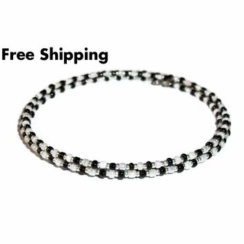 Black, Pearl White & Silver Glass Beaded Stackables Artisan Crafted Wrap Bracelet (L-XXL)
