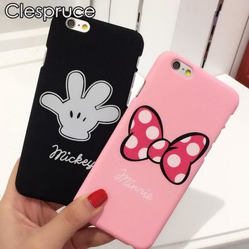 Luxury Pink bow-knot rosette Mickey Minnie hard PC plastic Phone Case For iphone 8 8plus 7 SE 5s 6 6s plus mouse Coque fundas