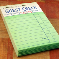 Green Guest Check Booklet 2516 Vintage Order Pad Restaurant Art Supplies