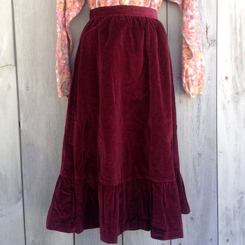 Vintage skirt | Burgundy velvet Prairie Revival midi skirt with flounce ruffle