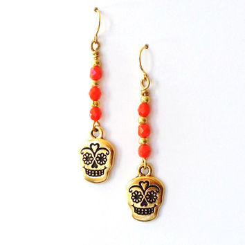 Sugar Skull Earrings -  Red Gold Earrings, Dia De Los Muertos