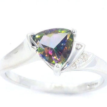 Mystic Topaz Trillion Diamond Ring .925 Sterling Silver Rhodium Plated