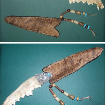 Handmade Coyote & Alligator Jawbone Knife. Gorgeous Handcrafted Wild Exotic OOAK Piece of Art. Hunting Hunter Gift Christmas Metal Turquoise