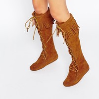 Minnetonka Brown Suede Front Lace Knee High Boots