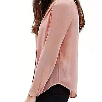Pink Chiffon Blouse With Long Sleeve