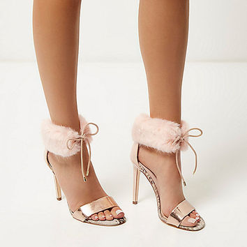 Light pink faux fur ankle strap heels - heeled sandals - shoes / boots - women