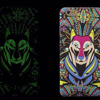 So Cool Night King Wolf Animal Handmade Carving Luminous Light Up iPhone creative cases for 5S 6 6S Plus